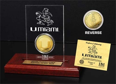 Miami Hurricanes Miami Hurricanes 24KT Gold Coin Etched Acrylic