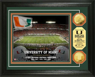 Miami Hurricanes University of Miami Gold Coin Photo Mint