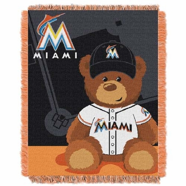 Miami Marlins Jacquard BABY Throw Blanket
