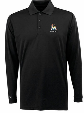 Miami Marlins Mens Long Sleeve Polo Shirt (Color: Black)