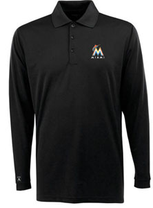 Miami Marlins Mens Long Sleeve Polo Shirt (Color: Black) - Small