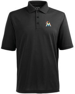 Miami Marlins Mens Pique Xtra Lite Polo Shirt (Color: Black) - X-Large