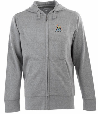 Miami Marlins Mens Signature Full Zip Hooded Sweatshirt (Color: Gray)