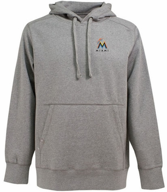 Miami Marlins Mens Signature Hooded Sweatshirt (Color: Silver)