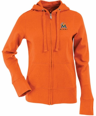 Miami Marlins Womens Zip Front Hoody Sweatshirt (Color: Orange)