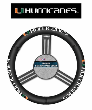 Miami Hurricanes Steering Wheel Cover - Leather