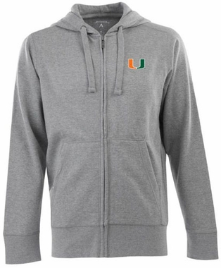 Miami Mens Signature Full Zip Hooded Sweatshirt (Color: Silver)