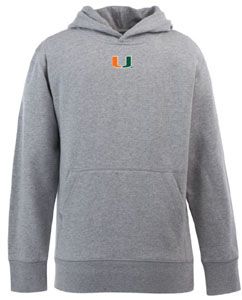 Miami YOUTH Boys Signature Hooded Sweatshirt (Color: Gray) - Large