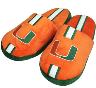 Miami YOUTH Team Stripe Slide Slippers-Medium