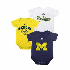 Michigan 3 Pack Distressed Creeper Set - 12 Months