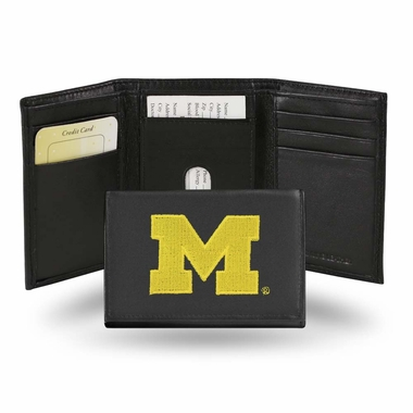 Michigan Embroidered Leather Tri-Fold Wallet