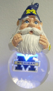 Michigan Light Up Gnome Snow Globe Ornament