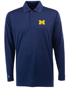 Michigan Mens Long Sleeve Polo Shirt (Color: Navy) - Large