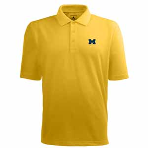 Michigan Mens Pique Xtra Lite Polo Shirt (Color: Gold) - Large