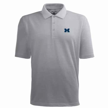 Michigan Mens Pique Xtra Lite Polo Shirt (Color: Silver)