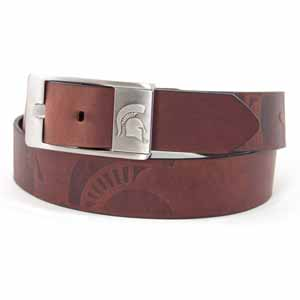 Michigan State Brown Leather Brandished Belt - Size 32 (For 30 Inch Waist)