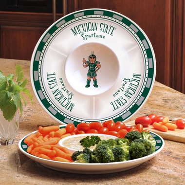 Michigan State Ceramic Chip and Dip Plate