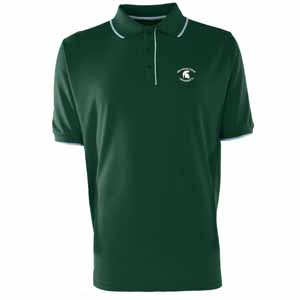 Michigan State Mens Elite Polo Shirt (Color: Green) - Small