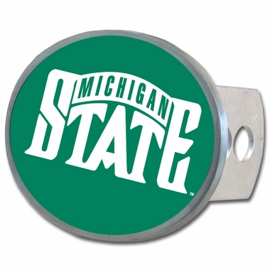 Michigan State Oval Metal Hitch Cover