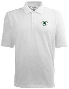 Michigan State Mens Pique Xtra Lite Polo Shirt (Color: White) - XX-Large