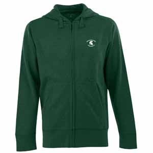 Michigan State Mens Signature Full Zip Hooded Sweatshirt (Color: Green) - Large