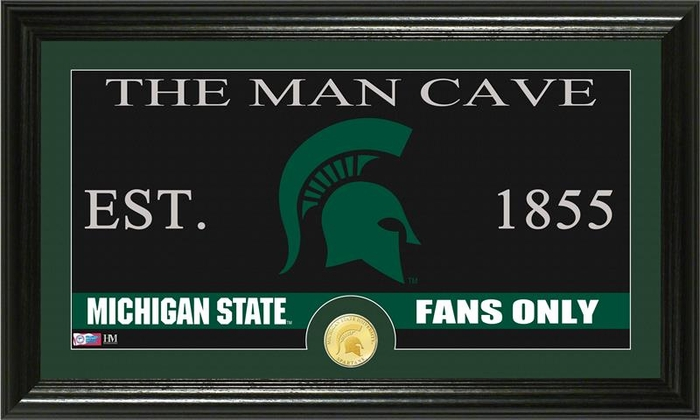 Man Cave Store In Michigan : Michigan state university quot man cave bronze coin panoramic