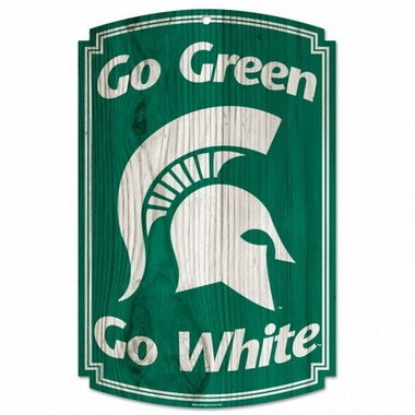 Michigan State Spartans Wood Sign