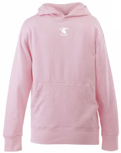 Michigan State YOUTH Girls Signature Hooded Sweatshirt (Color: Pink) - Large