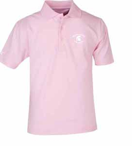 Michigan State YOUTH Unisex Pique Polo Shirt (Color: Pink) - Small