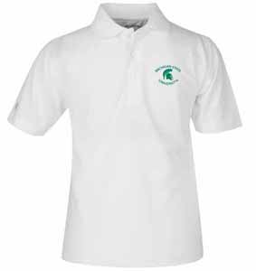 Michigan State YOUTH Unisex Pique Polo Shirt (Color: White) - Large