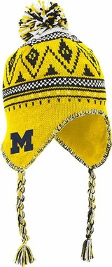 Michigan Tassel Pom Knit Hat