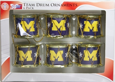 Michigan Wolverines 2012 Plastic Drum 6 Pack Ornament Set
