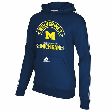 Michigan Wolverines Adidas YOUTH 3-Stripe Hooded Sweatshirt