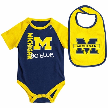Michigan Wolverines Infant Rookie esie w Bib Set 3 6