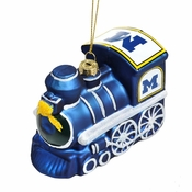 Michigan Wolverines NCAA Blown Glass Train Ornament