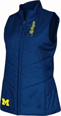 Michigan Womens 3 Stripe Quilted Vest Jacket - Small