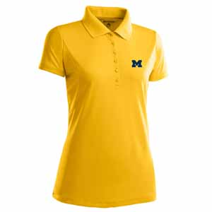 Michigan Womens Pique Xtra Lite Polo Shirt (Color: Gold) - Large