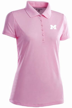 Michigan Womens Pique Xtra Lite Polo Shirt (Color: Pink)