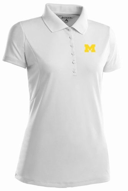 Michigan Womens Pique Xtra Lite Polo Shirt (Color: White)