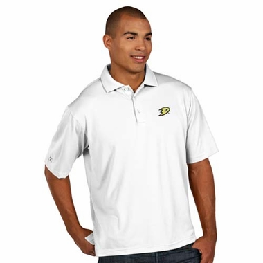 Anaheim Ducks Mens Pique Xtra Lite Polo Shirt (Color: White)