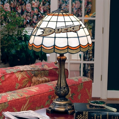 Anaheim Ducks Stained Glass Table Lamp