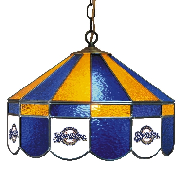 Milwaukee Brewers 16 Inch Diameter Stained Glass Pub Light