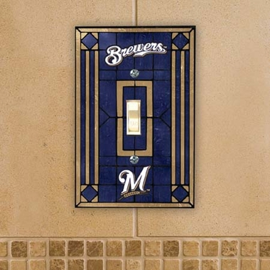 Milwaukee Brewers Art Glass Lightswitch Cover