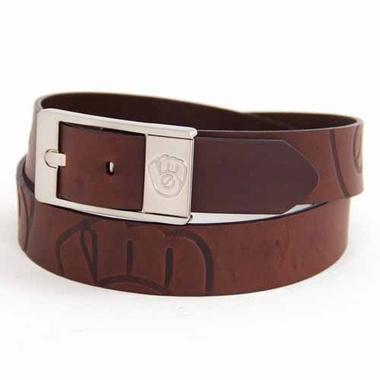 Milwaukee Brewers Brown Leather Brandished Belt