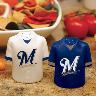 Milwaukee Brewers Ceramic Jersey Salt and Pepper Shakers