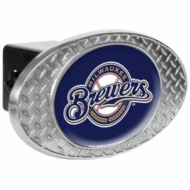 Milwaukee Brewers Metal Diamond Plate Trailer Hitch Cover