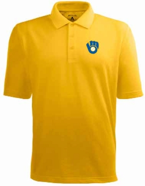 Milwaukee Brewers Mens Pique Xtra Lite Polo Shirt (Cooperstown) (Color: Gold)