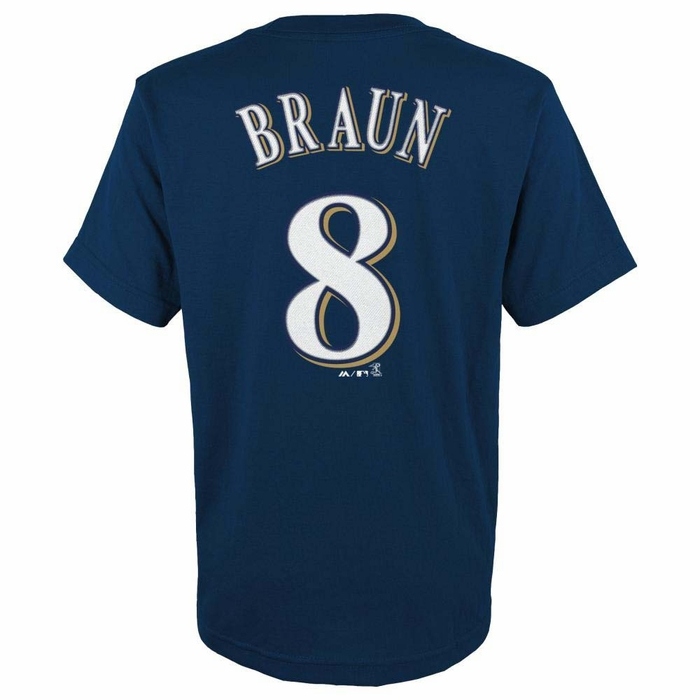 milwaukee brewers ryan braun youth majestic player navy t. Black Bedroom Furniture Sets. Home Design Ideas