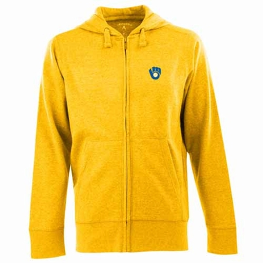 Milwaukee Brewers Mens Signature Full Zip Hooded Sweatshirt (Cooperstown) (Color: Gold)