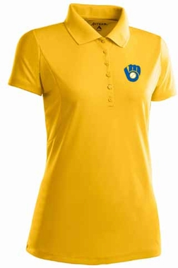 Milwaukee Brewers Womens Pique Xtra Lite Polo Shirt (Cooperstown) (Color: Gold)